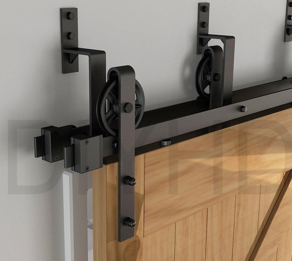 DIYHD 10ft Industrial Spoke Wheel Bypass Barn Door Track Stablest Bypass Sliding Door Hardware