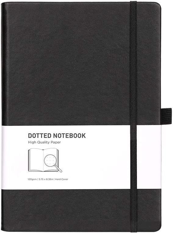 RETTACY Dotted Grid Notebook/Journal - A5 Dotted Hardcover Notebook with 256 Pages,120gsm Thick Paper,Inner Pocket & 8 Perforated Pages,Fine PU Leather,''5.75 × 8.38''