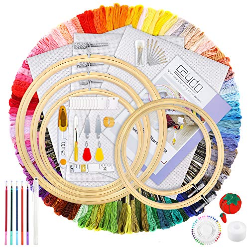 Caydo 205 Pieces Embroidery Kit with Instructions, 100 Colors Threads, 40 Sewing Pins, 3 Pieces Aida Cloth, Embroidery Hoops and Cross Stitch Tools for Adults and Kids Beginners