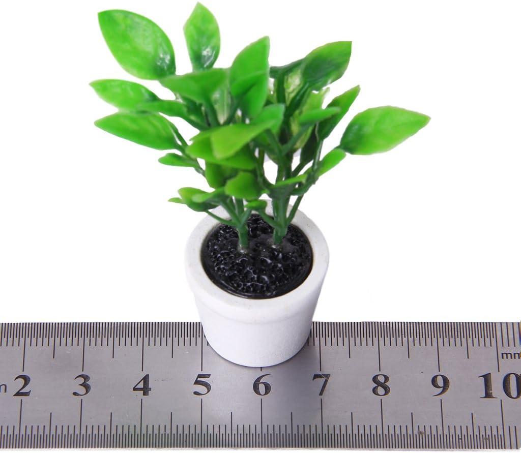 TENDOC 1//12 Dollhouse Miniature Garden Accessory Green Plant in White Pot