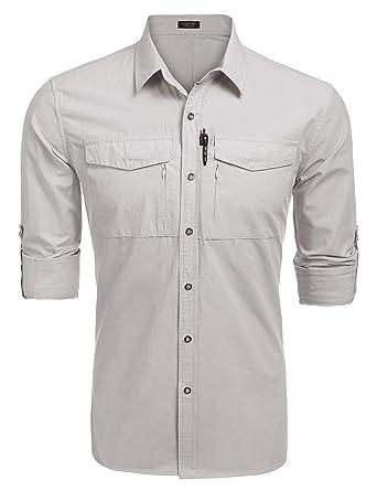 412b5a03b46 Coofandy Men s Performance Quick Dry UV Protection Outdoor Shirt Long  Sleeves Hiking Fishing Shirts
