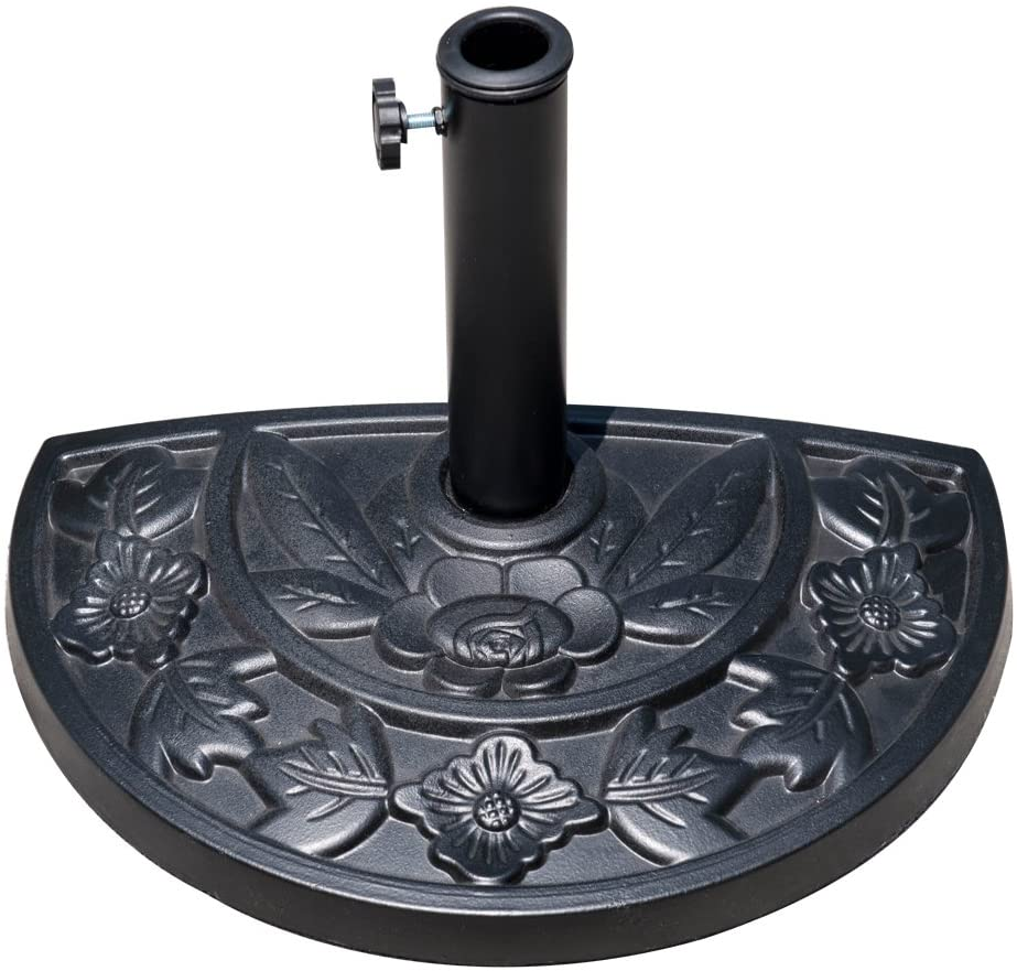 Sundale Outdoor Half Round Resin Umbrella Base for Half Patio Umbrella, Black