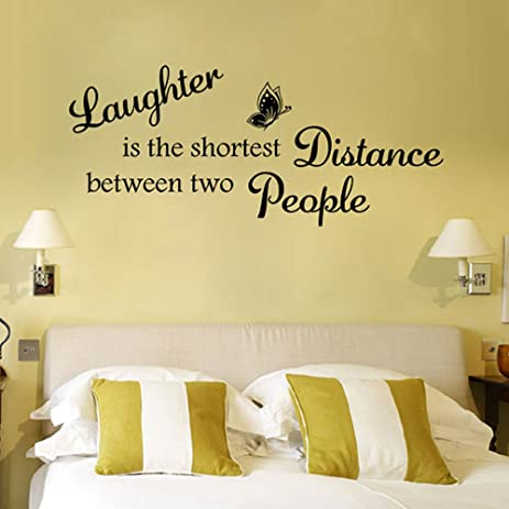 Amazon.com: Laughter Is The Shortest Distance Wall Decal Cartoon ...