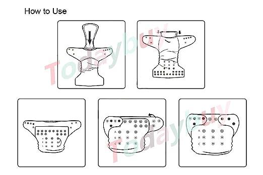 Amazon.com : Bebé lavables pañales de tela reutilizables, transpirable, Snap ajustable, 6pcs paquete de bolsillo pañal de tela con 2 Inserciones cada uno, ...