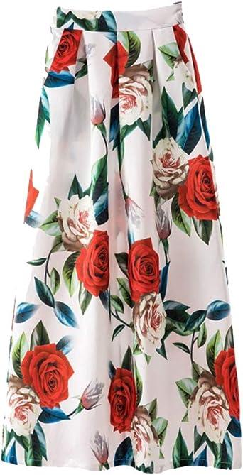 KasenA Mujer Maxi Larga Falda Vacaciones Estampado Floral Faldas ...