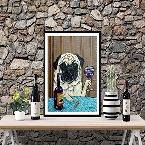 Pug at the Wine Bar Dog signed art ()