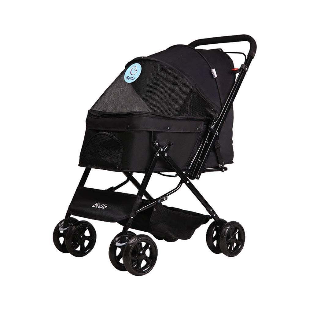 Black A3 Pet Stroller Dog cat Cart Folding Four-Wheeled Cart Animal Sports Car Suitable for Tourism. Dog cart (color   Black)