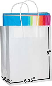 [100 Bags] 6.25x3.5x8. White Kraft Paper Gift Bags with Handles Bulks. Ideal for Shopping, Packaging, Retail, Party, Craft, Gifts, Wedding, Recycled, Business, Goody and Merchandise Bag