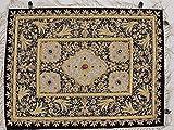 Gold Wall Hanging Jewel Carpet – Kashmir Zardozi Embroidery Home Decoration ~ 24 Inch x 18 Inch