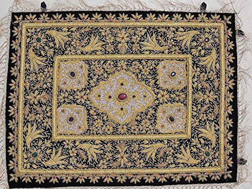 - Gold Wall Hanging Jewel Carpet - Kashmir Zardozi Embroidery Home Decoration ~ 24 Inch x 18 Inch
