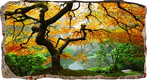 Startonight 3D Mural Wall Art Photo Decor Window Maple Tree Amazing Dual View Surprise Large 32.28 inch By 59.06 inch Wall Mural Wallpaper for Living Room or Bedroom Nature Collection