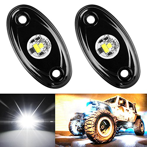 Amak 2 Pods LED Rock Lights Kit White Underbody Glow Trail Rig Light Waterproof Underglow LED Neon Lights for JEEP Off Road Trucks Car ATV SUV Vehicle Boat - White