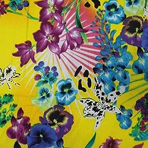 """44 """"tela puro algodón floral amarillo Imprimir costura vestido drapeado tela Ancho Costura By The Yard"""