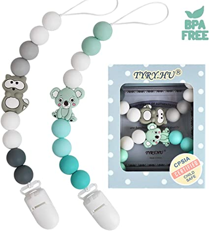 Personalised Name Dummy Clips for Boys and Girls Soother Chain Holder Pacifier Clips Silicone Koala Teether Teething Beads Pacifier BPA Free