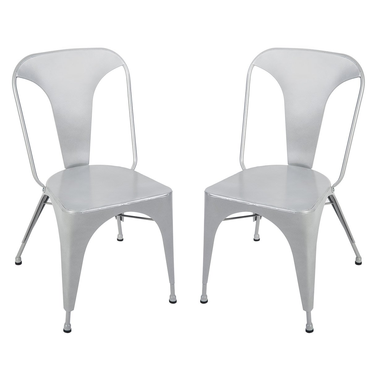 Metal Dining Chair Chic Dining Bistro Cafe Side Metal Chairs Set of 2 for Indoor Outdoor Use(Silver)
