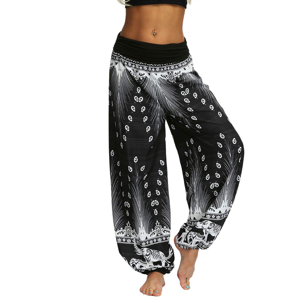 Amazon Com Beyonds Women Loose Yoga Wide Leg Hippie Pants Travel Lounge Casual Beach Women S Boho Pants Hippie Clothes Yoga Outfits Peacock Design Arts Crafts Sewing