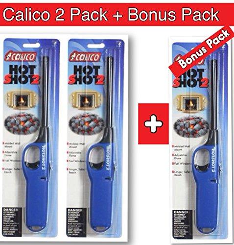 2 pack + Bonus Pack of Calico Hot Shot 2 Utility Lighter, Safe for Camping/grilling/home, Adjustable Flame with 25% More Fuel