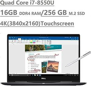 """2019 Dell Inspiron 15 7000 7573 15.6"""" 4K UHD Touchscreen (3840x2160) 2-in-1 Laptop (Intel Quad-Core i7-8550U, 16GB DDR4, 256GB M.2 SSD, MX130 2GB) Backlit, HDMI, Type-C, Bluetooth, Windows 10 64-bit"""
