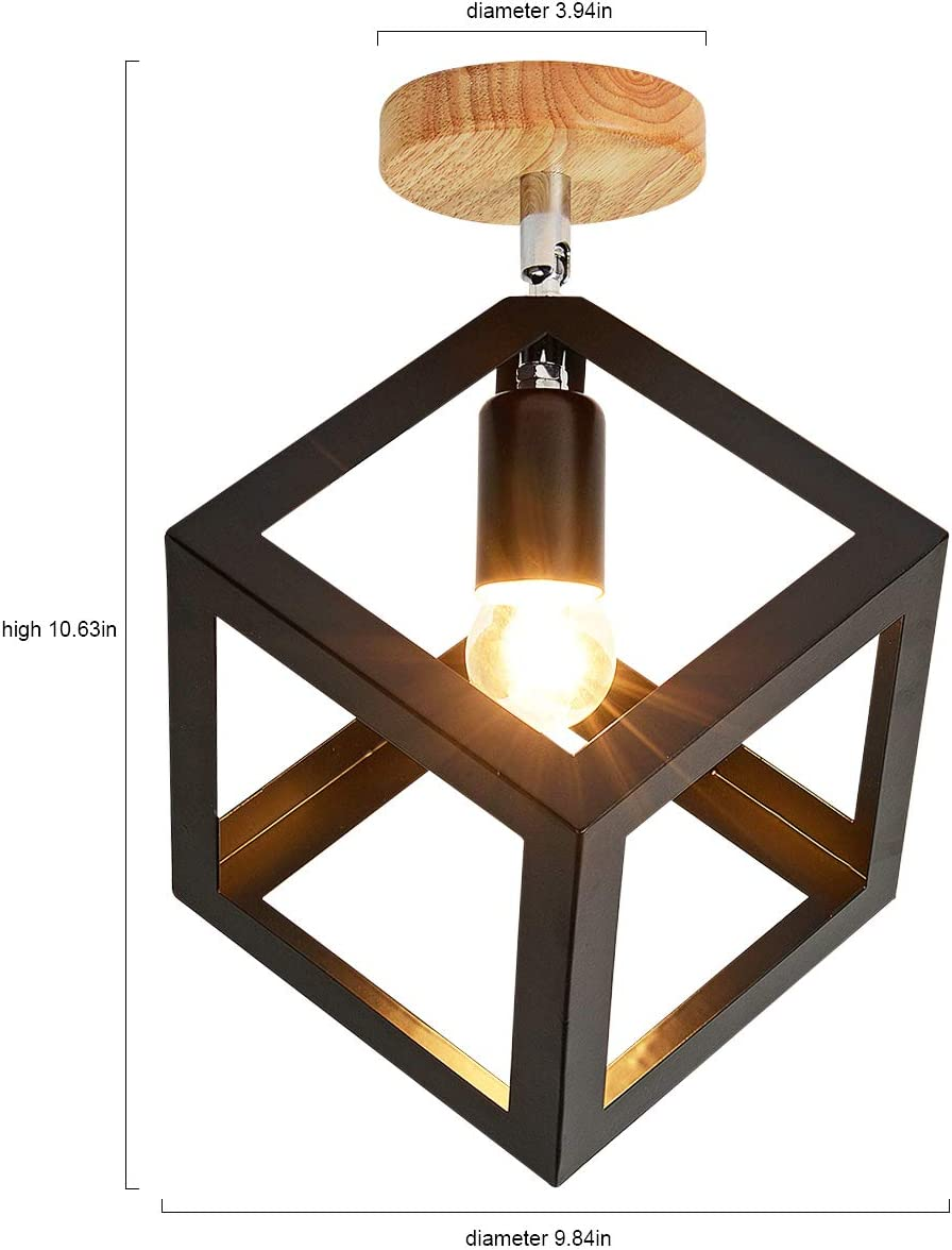 EERU Modern Nordic Cube Ceiling Light,Angle Adjustable Semi Flush Mount Light Fixture Minimalist Geometric Metal Shade with Wood Canopy Pendant Light for Hallway Dining Room Kitchen,Black.