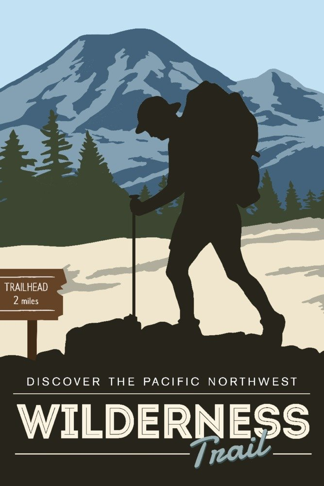 Discover the Pacific Northwest - Wilderness Trail - Backpacker - Vector Style (24x36 SIGNED Print Master Giclee Print w/ Certificate of Authenticity - Wall Decor Travel Poster)