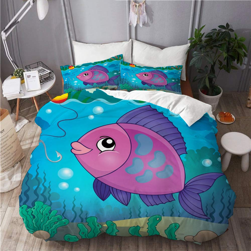 BOKEKANG Duvet Cover Set Full/Queen Size Freshwater Fish Topic Image 6 eps10 Light Weight Bedding Set 1 Duvet Cover with 2 Pillowcases