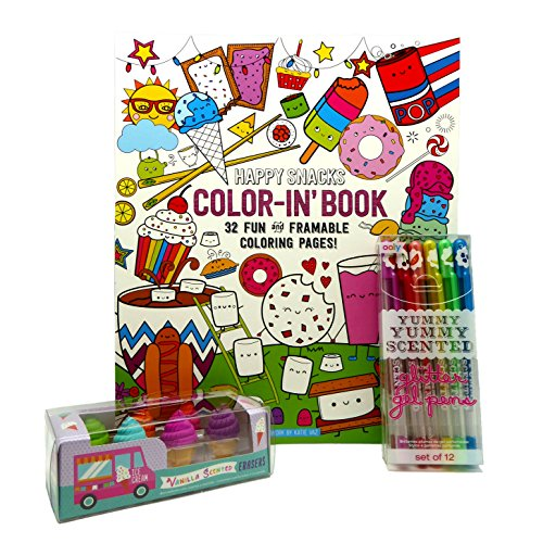 Ooly Happy Snacks Color-in' Book Bundle with Petite Sweets Ice Cream Shoppe Scented Erasers and Yummy Yummy Scented Glitter Gel Pens