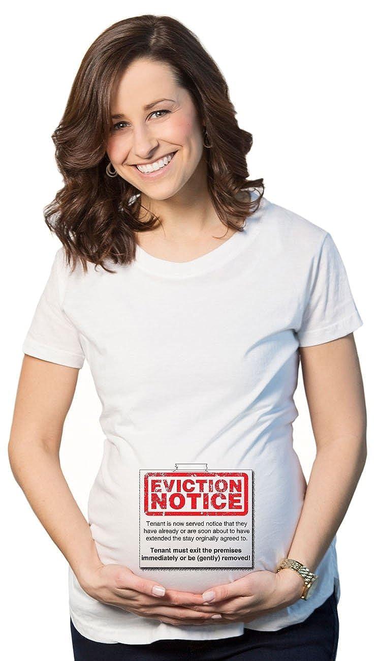 Crazy Dog Tshirts - eviction Notice Maternidad T Shirt Cute Funny Embarazo Tee Para Mujer - Blanco -: Amazon.es: Ropa y accesorios
