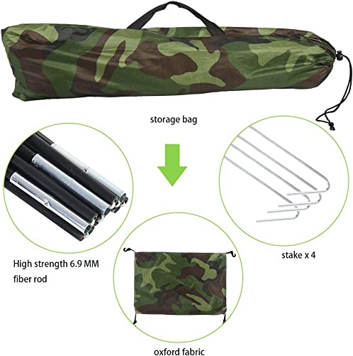Single Camouflage Camping Tent, Outdoor Polyester One Person Tents Camping Waterproof Tent with Carry Bag Tents for Camping, Backpacking, Picnic,Hiking,Fishing