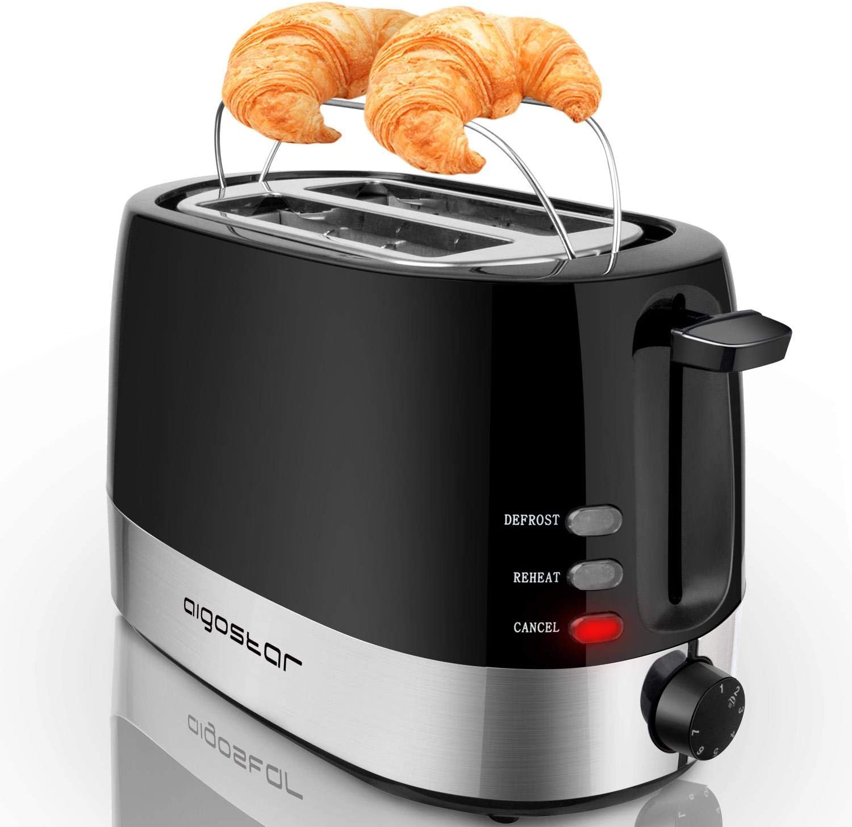 Grille-pain 2 fentes, 850 W, couleur noir. Fonction décongeler et maintenir au chaud, température réglable. Sans BPA. Aigostar Brotchen Black 30HIL