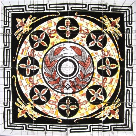 Decorative Ceramic Roman Italian Design Tiles: Hand Painted Mosaic Mural Kitchen Bath Patio Wall Décor 24 Inch x 24 Inch