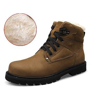 RUI Botines para Hombres, 2018 Otoño/Invierno Hombres Zapatos de algodón/Más Botas de Terciopelo/Botas Altas/Antideslizantes de algodón/Zapatos de Cuero de ...