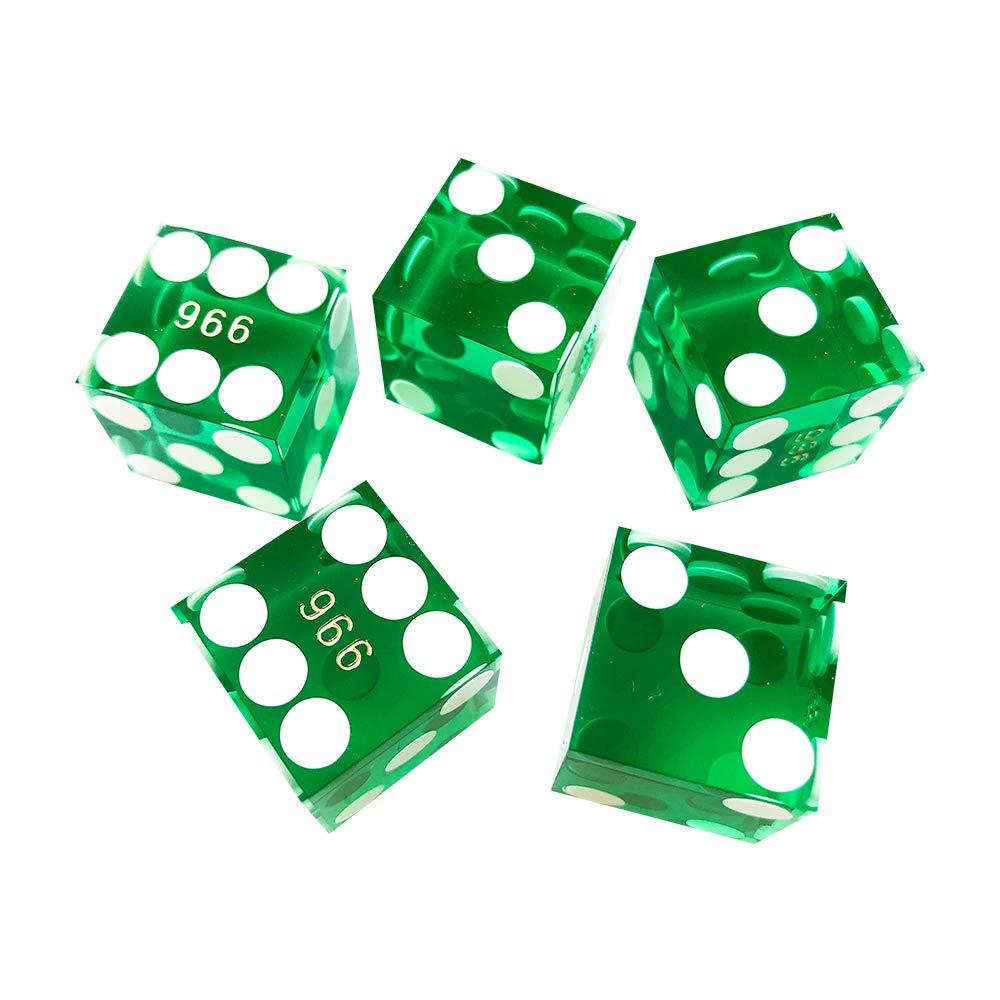 YH Poker 5個セット 精密 19mm シリアル カジノ ダイス レーザーエッジとコーナー付き  グリーン B07HF3GKRL