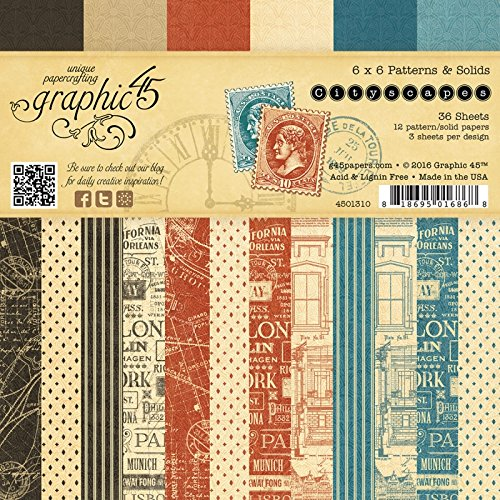 Graphic 45 4501310 Cityscapes Patterns and Solids Collection, 6 x ()