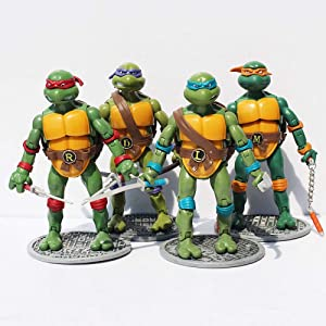 Chez Inspired by Ninja Turtles Mutant Teenage Action Figures [1988 Nostalgic Classic Model], 6.5 in (Set 4 pcs)
