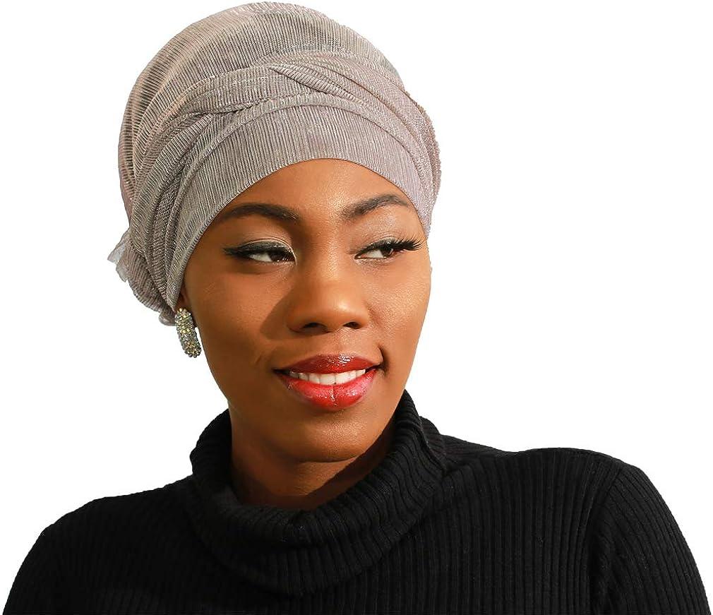 KAVINGKALY LMLAVEN Femmes Paillettes Shimmer Crinkle Hijab Mode Ch/âle Wraps Pour La Soir/ée Light Kaki