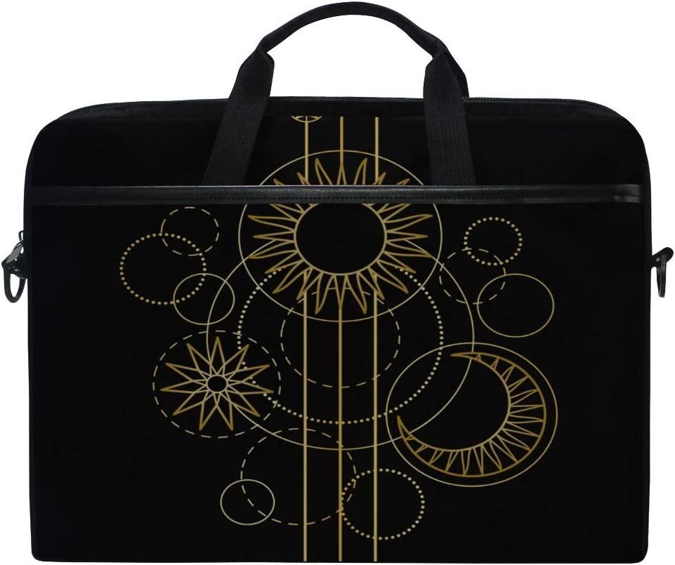 Laptop Bag Abstract Pattern Gold Sun Moon Star 15-15.4 Inch Laptop Case College Students Business People Office Workers Briefcase Messenger Shoulder Bag for Men Women