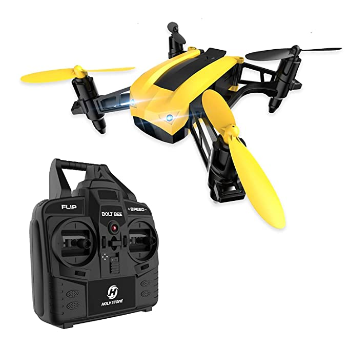 Holy Stone HS150 Bolt Bee Mini Racing Drone RC Quadcopter RTF 2.4GHz 6-Axis Gyro with 50KMH High Speed Headless Mode Wind Resistance Includes Bonus Battery best drones