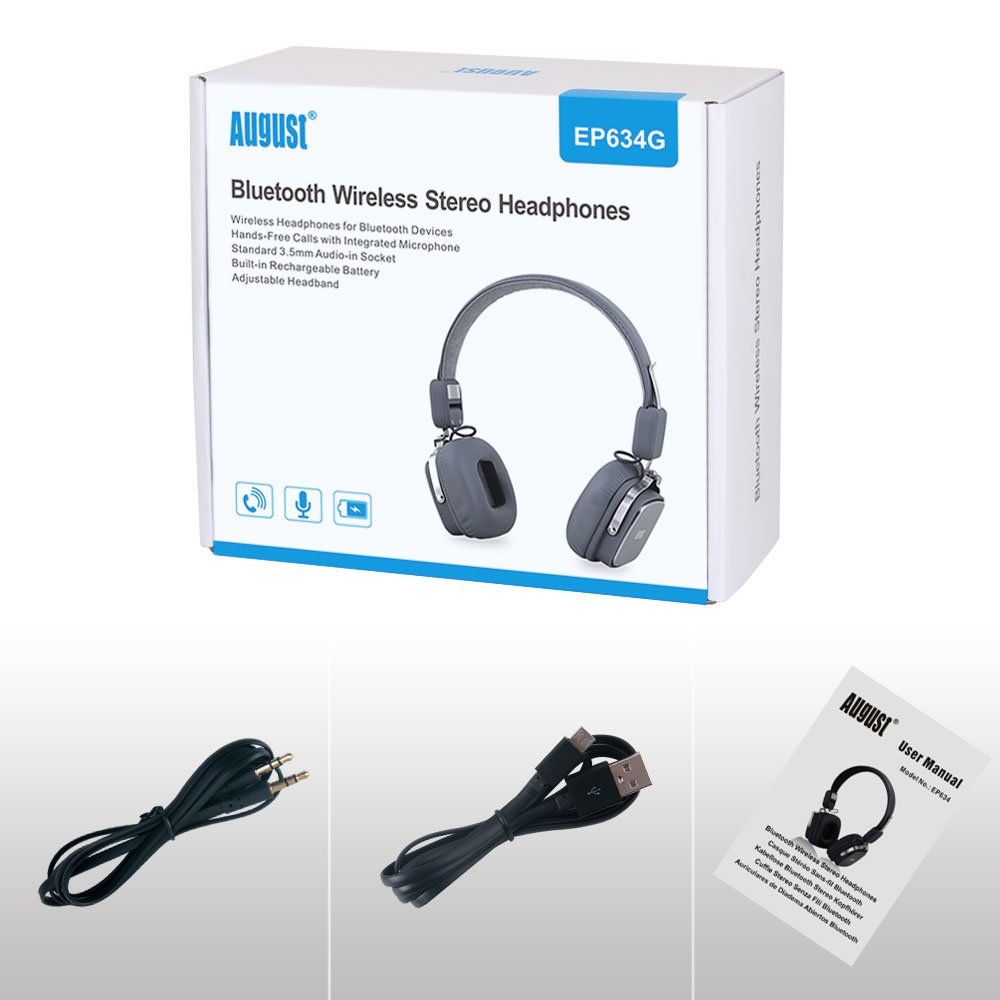 Amazon.com: August EP634 - Bluetooth Wireless Stereo Headphones - On Ear Cordless Headphones with 3.5mm Audio In, Rechargeable Battery and Built-in ...