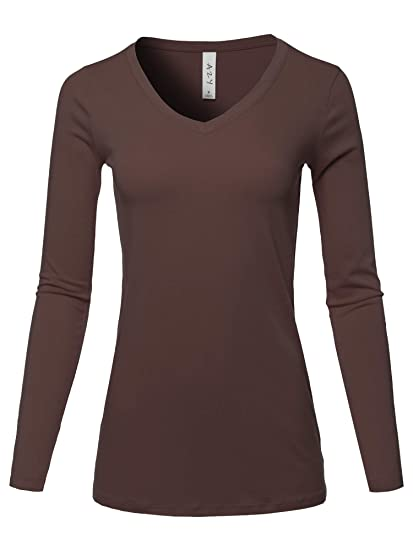 3bcdc2da82dd0e A2Y Basic Solid Soft Cotton Long Sleeve V-Neck Top T-Shirt Americano Size