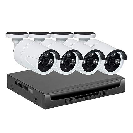 Kit de vigilancia de video PoE, EMAX cámara bala IR día / noche 4pcs,