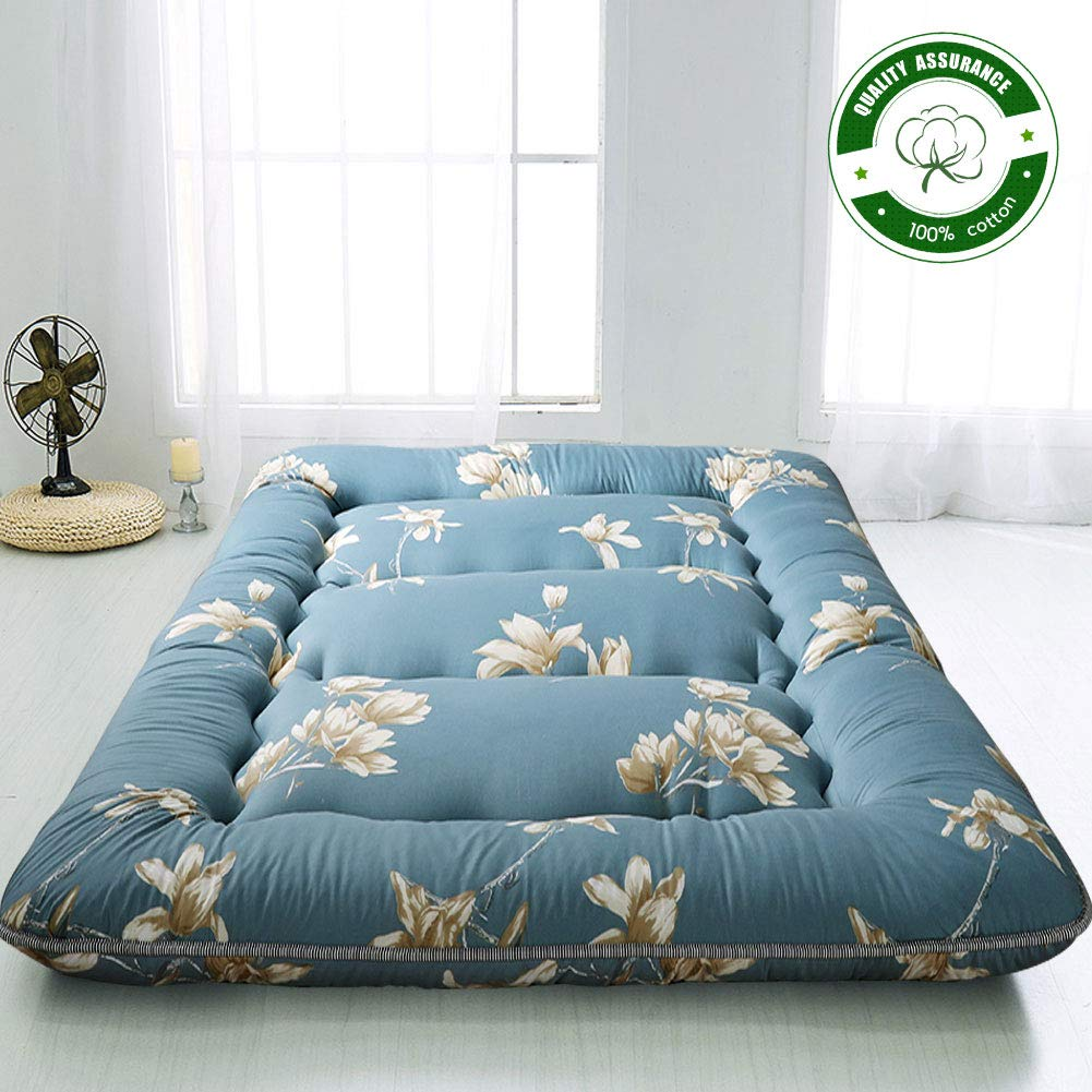 Floral Printed Rustic Style Japanese Floor Mattress Futon Mattress, Memory Foam Foldable Bed Roll Up Camping Mattress Floor Lounger Bed Couches and Sofas, Thickness:10CM Twin Size by MAXYOYO