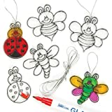 Baker Ross Bug Mini Suncatcher Glass Effect Acrylic Decorations 6cm, with Ribbons, 3 Assorted Children's Painting Craft Kits(Pack of 12)