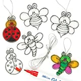 Baker Ross Bug Mini Suncatcher Decorations (Pack Of 12) For Kids Arts and Crafts