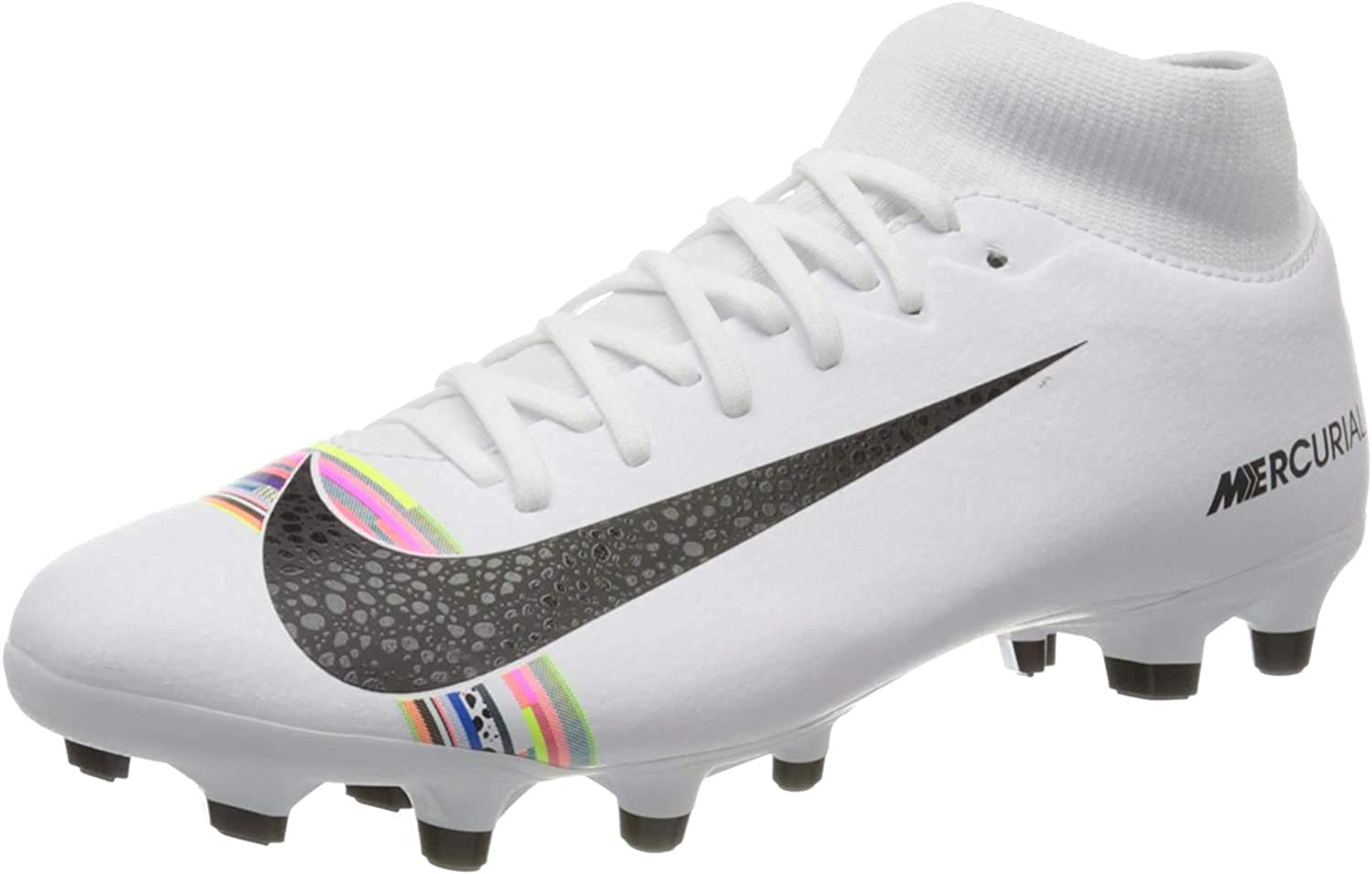 Nike Superfly 6 Academy FG/MG, Chaussures de Futsal Mixte Adulte Multicolore White Black Pure Platinum 000