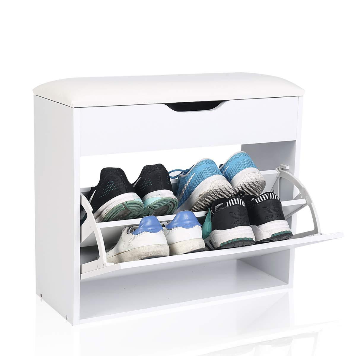 Schuhschrank Schuhkipper Rack Aufklappbar Kissen Bad Flur Diele Standregal Weiß 1 Fächer extra Schmal Sie bis zu 4-6 Paar Schuhe-für Eingangsbereich Flur und Badezimmer (60x24x55)