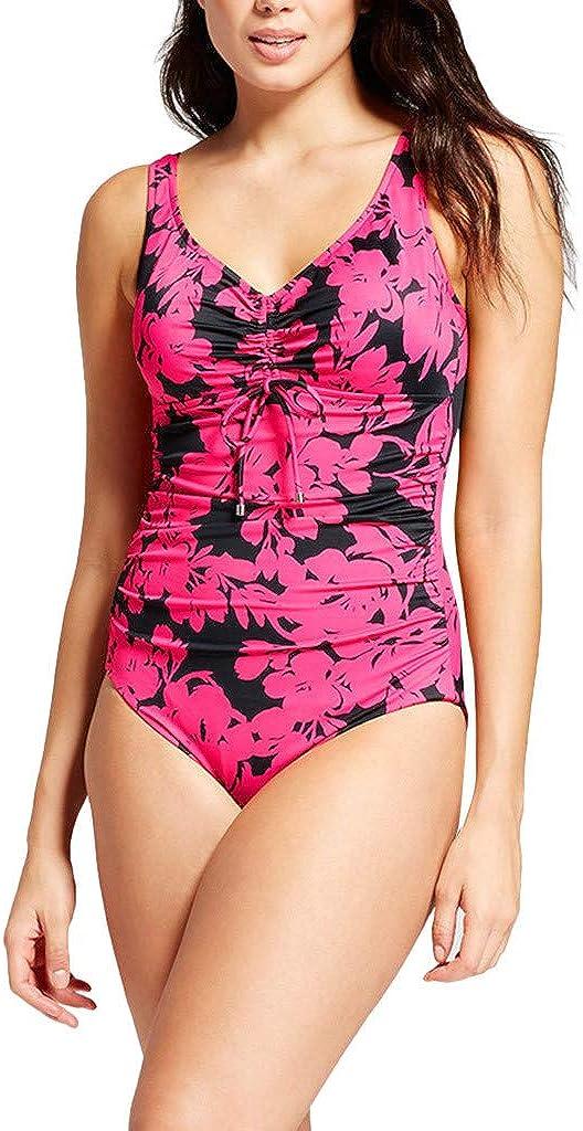 SHIJUNWE one Piece Swimsuit for Women Plus Size Print Push up Tummy Control Bathing Suit for Women Swimwear