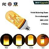 Romantic LED Flickering Simulation Flame Light Bulbs 3 Modes and Gyro Sensor,1500K True Fire Color,700 Lumens Nature effect,108pcs 2835 LED Beads