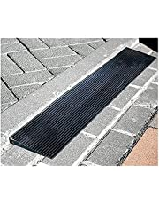 CLEAVIN 0.8-4.5 cm Rise Rubber Wheelchair Ramp, Cuttable Threshold Ramp, Outdoor Step Curb, Non-Skid Door Openings Mat for Driveway, Sidewalk, Sweeping Robot (Size : 90x15x2.5cm(35.4x5.9x1inch))