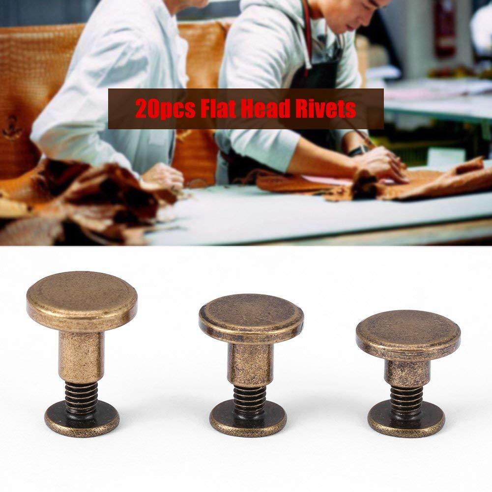 remaches accesorios 5mm lat/ón cabeza plana roscada tornillos cuero manualidades 20 piezas de cobre tuerca clavos