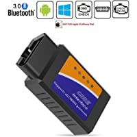 Friencity Bluetooth coche OBD ii 2 OBD2 escáner adaptador, lector de código de motor del vehículo para el coche herramienta de diagnóstico de diagnóstico Compruebe la luz del motor, compatible con dispositivos Android y Windows, NO para iOS iPhone
